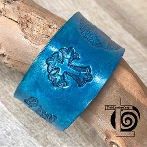 Turquoise Christian Symbol Leather Bracelet